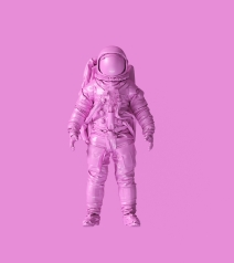 Pink Spaceman Astronaut Cosmonaut 3d illustration 3d render